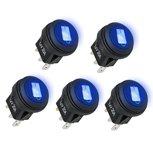 Linkstyle 5PCS 12V 20A Car Truck RV Rocker Round Toggle, LED Switch 3 Pins On-Off Control Waterproof Lighted On/Off Boat Marine Rocker Switch for 20mm Mounting Hole (Blue)