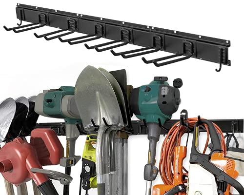 WMK Garage Tool Organizer Wall Mount, 11 PCS Garden Tool Rack with 8 Adjustable Heavy Duty Storage Hooks, Aluminum Tool Storage Racks 48 Inch, Max Load to 280lbs