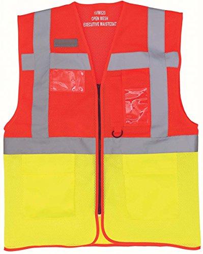 Workwear World WW156 Weste, hohe Sichtbarkeit, kühl offen, Netzstoff, mehrere Taschen, rot