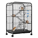 VIVOHOME 37 Inch Metal Indoor Outdoor 4 Levels Small Animal Cage Hutch with Water Bottle Ladders and Rolling Stand for Hamster Guinea Pig Pet Rat Cat Ferret Chinchilla