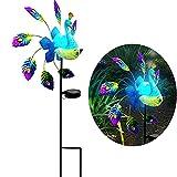 32x102cm Windmühle Pfau Windmühle Solar für Außen Gartenleuchte Windspiele für Draußen Stehend Windmühle Balkon Metall Windrad Garten Deko (Multicolor)