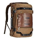 KAUKKO Outdoor Travel Men Backpack, Hiking Camping Canvas Rucksack(dark khaki)