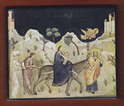 """Giotto's""""Flight into Egypt"""" from his frescoes in the Lower Church of Basilica di San Francesco in Assisi, Italy."""