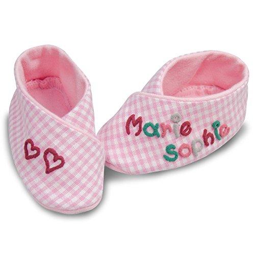 Geschenk-Set kleine Herzen rosa kariert, Erstlings-Set Babyschuhe mit Wärmekissen Herz, Set Baby Mädchen, personalisierte Geschenke, Mädchen Geschenke