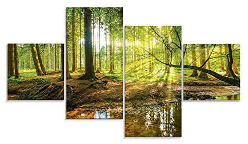 Artland Glasbilder Wandbild Glas Bild Set 4 teilig 120x70 cm Querformat Wald Natur Landschaft Bäume Bach Sonne Frühling T9IO
