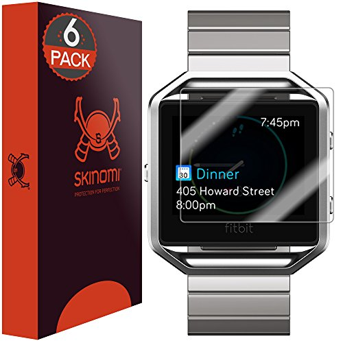 Skinomi TechSkin - Schutzfolie kompatibel mit Fitbit Blaze, 6er Pack