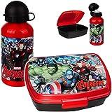 alles-meine.de GmbH 2 TLG. Set _ Lunchbox / Brotdose + Trinkflasche - Avengers - BPA frei - Alutrinkflasche - Brotbüchse Küche Essen - für Jungs Jungen - Vesperbrotdose - Schule ..