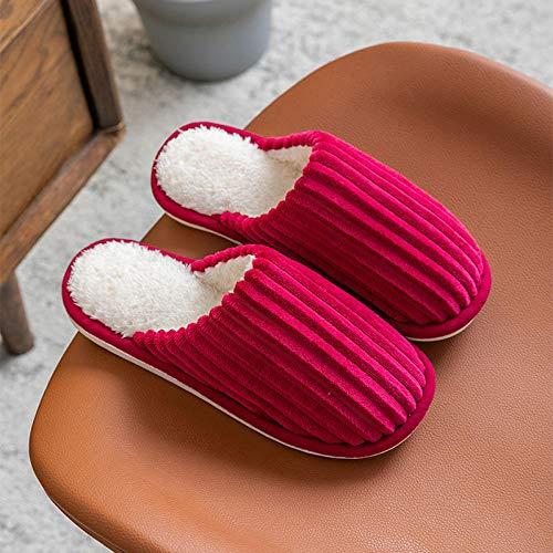 QPPQ Pantuflas de algodón, cálidas antideslizantes, zapatillas de algodón para hombres y mujeres en otoño e invierno_roja_6.5-7, cómodas zapatillas de algodón