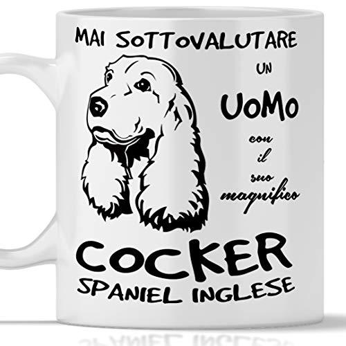 Taza cocker para hombre apta para desayuno, té, tisana, café, capuchino. Gadget taza nunca subestimar un hombre con un perro cocker idea regalo original