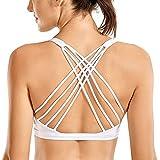 CRZ YOGA Strappy Sports Bras for Women Cross Back Sexy Padded Yoga Bra Tops Cute Activewear White Medium