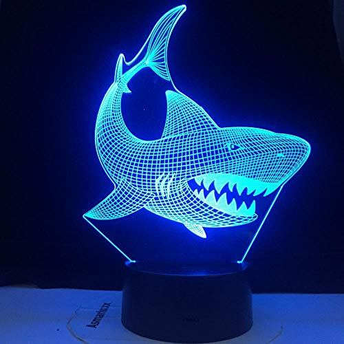 3D Optical Illusion Night LightOdd shark fishUSB Light Gift Kids Decoration Children Decor Home Baby Room Light Bedroom Toys-16 colors remote