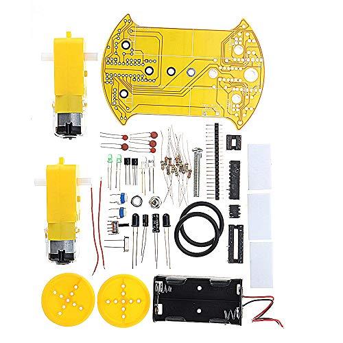 Módulo electrónico Kit de coche de seguimiento inteligente 51 Coche lineal de un solo chip AT89C2051 Patrol Kit de coche DIY D2-2 Equipo electrónico de alta precisión