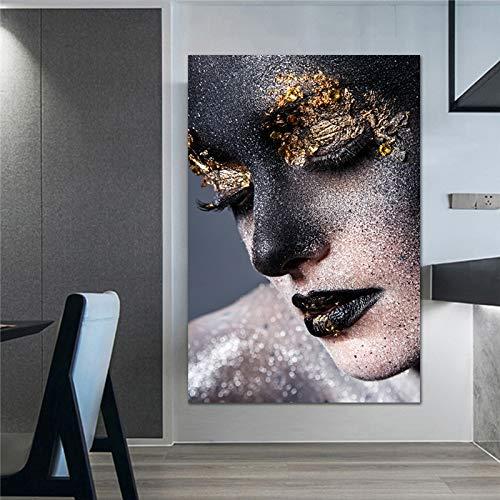 fdgdfgd Arte de Pared de Mujer Negra y Dorada, Modelo de Lienzo, póster Europeo, Mural, Imagen Impresa para Sala de Estar