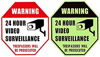 WISLIFE 24 Hour Video Surveillance Sign - This Area Under Video Surveillance Sign, ONE Piece, Glow in The Dark No Trespassing Video Surveillance Sign, 12