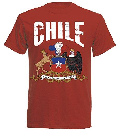 T-Shirt Chile WM 2018 ROT Vintage Destroy Wappen D01 NC (XL)