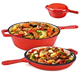 Suteck Enameled Cast Iron 2-In-1 Skillet Set, Heavy Duty 3.2 Quart Enamel Cookware Pot and Lid Set, Deep Saucepan and Shallow Skillet Dutch Oven Nonstick Frying Pan for Chef Kitchen (Red)