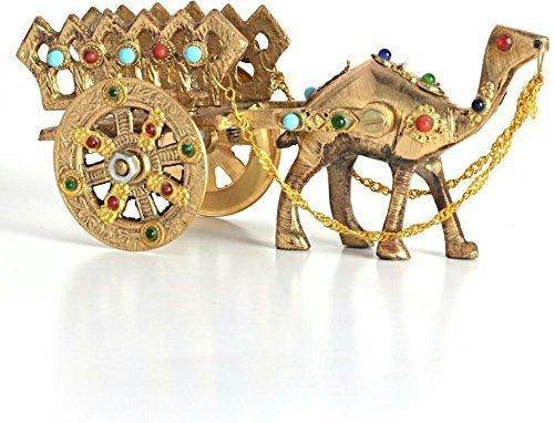 The Hue Cottage Cammello Carrello Fiore all'occhiello Handcrafted Rajasthani Arredamento d'interni Ottone Animale Regalo figurina Articoli India