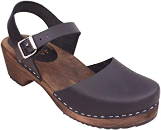 Swedish Clogs Low Wood in Black with Brown Sole