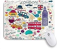 ゲーミングマウスパッドカスタム、ロンドンカラフルシンボルバスビッグベンティー傘帽子レトロキャブハートにフィット、オフィスパーソナライズされたデザイン滑り止めラバーマウスパッド9.5 X7.9インチ