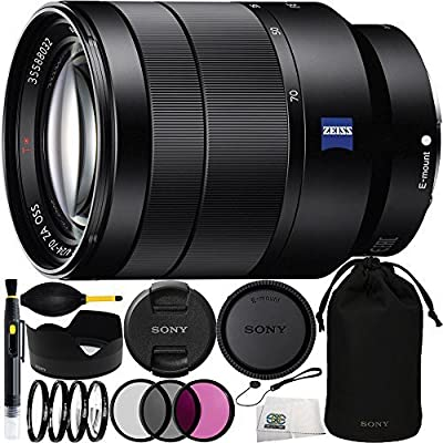 Sony Vario-Tessar T FE 24-70mm f/4 ZA OSS SEL2470Z Lens Bundle Includes Manufacturer Accessories + 3PC Filter Kit + 4PC Macro Lens Kit + Lens Pen + Dust Blower + Cap Keeper + Microfiber Cleaning Cloth by SSE