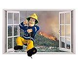 Customise4U Feuerwehrmann Sam 3D Fenster Kinder Wandaufkleber Wandüber Wall Art Wand Tattoo (3D Fireman sam Window 70cm)