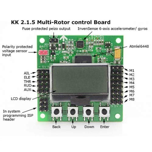 GoGoRc KK2.1.5 LCD Flight Control Board V1.9S for RC Multi-Rotor Drone Flying Wing F450