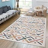 TT Home Alfombra de salón de pelo corto, moderna, étnico, diseño de rombos, colores pastel claro y multicolor, tamaño: 120 x 170 cm