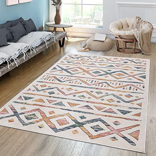 TT Home Alfombra de salón de pelo corto, moderna, étnico, diseño de rombos, colores pastel claro y multicolor, tamaño: 80 x 150 cm