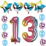 Lot de 13 ballons gonflables en forme de chiffre 13 pour anniversaire de fille - Motif arc-en-ciel - Pour 13 ans - Décoration pour fille - 8 confettis en latex