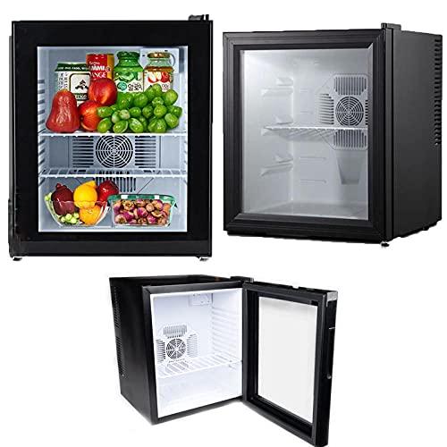 Mini Nevera Counter Frigorífico 20 Litros, Puerta De Cristal LED Portátil Pantalla De Vidrio Bebida Vino Y Bebidas Refrigerador Energía Eficiente Del Vino Enfriador Negro