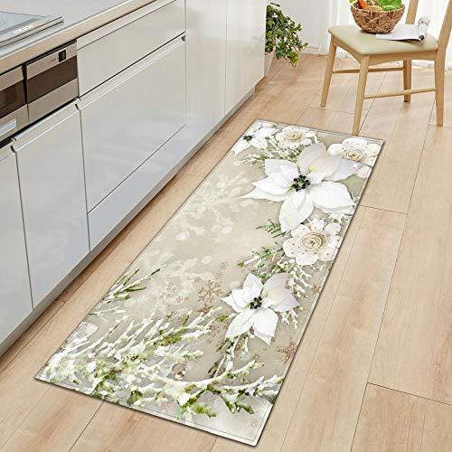 XIAOZHANG kitchen mat Creative white snowflake Crystal velvet Floor Rugs Anti Skid Mats Living Room Bedroom Kitchen 60x180CM