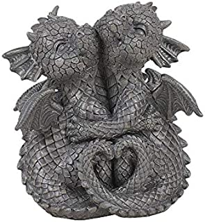 Pacific Giftware Garden Dragon Lovely Couple Garden Display Decorative Accent Sculpture Stone Finish 4.75 inch Tall
