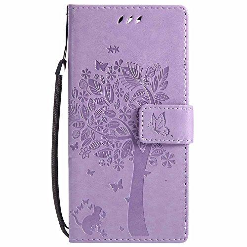 C-Super Mall-UK® Sony Xperia XA2 Hülle, Prägung Baum Katze Schmetterling Muster PU Leder Brieftasche Ständer Flip Schutzhülle für Sony Xperia XA2-Violett