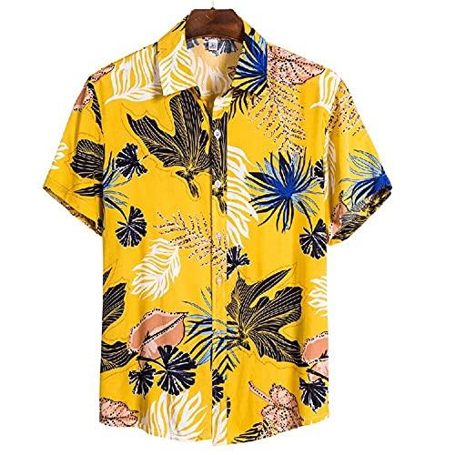 Camisa Hombres Verano Casual Camisa Playa Transpirable Tendencia Impresión Botón Tapeta Solapa Hombres Manga Corta Suelta Cómoda Moda Camisa Hawaii CS135 M