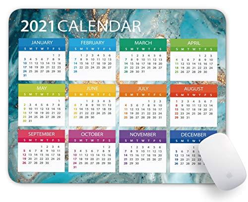 YTMYAN 2021 Calendar Mouse Pad Rectangle Gaming Non Slip Rubber Backing Mousepad-Dark Green Garbling