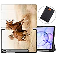 MAITTAO Galaxy Tab S6 10.5 Case 2019 Release S Pen Holder with Charged Wirelessly, Slim Folio Shell Stand Cover for Samsung SM-T860/T865 /T867 Tablet Sleeve Bag 2 in 1 Bundle, Akhal-Teke Horse 14