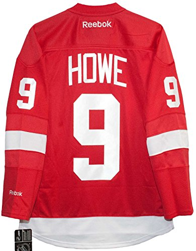 Gordie Howe Detroit Red Wings Home Red Reebok Premier Jersey Sewn Tackle Twill Name and Number (Small)