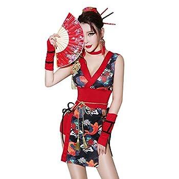 TOMORI Womens Sexy Kimono Lingerie Costumes Japanese Anime Cosplay Underwear Shiranui Mai Red Medium