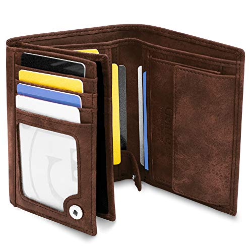 GenTo® Oslo Herren Geldbörse mit Münzfach - TÜV geprüfter RFID, NFC Schutz - geräumiges Portemonnaie - Geldbeutel für Männer - Portmonaise inkl. Geschenkbox (Dunkelbraun - Soft)