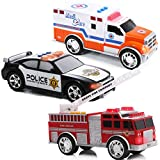 Top Right Toys Emergency Rescue Vehicles - Ambulance, Fire Truck and Police Car, 3 Piece Set with Lights and Sound Sirens for Kids, Boys