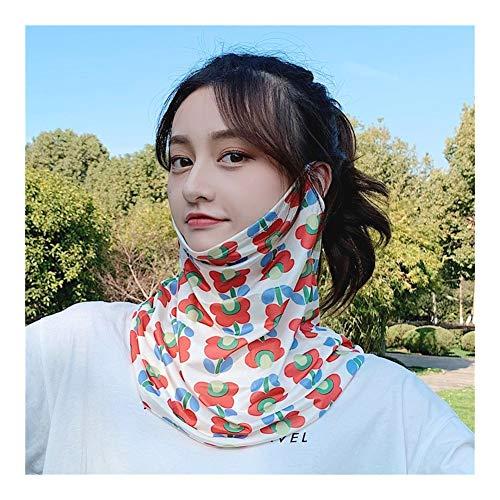 QXX Protector Solar de Verano Cubierta protección Facial y del Cuello Transpirable Velo de Seda de la Bufanda de Seda del Hielo (Color : T)