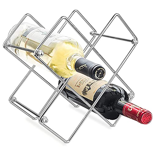 Porta Bottiglie Vino, Scaffale da Vino Indipendente, Scaffale da Vino metallo, Bellissimo Scaffale per Bottiglie di Vino, Facile Da Installare, Adatto Per Cucina, Soggiorno (Argento)