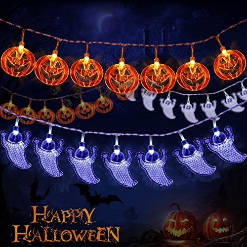 Amzeeniu Cadena de Luces Halloween,3m 20 LED Calabaza Luces de Cadena Fantasma Batería Luces de Hada Cadena Decoración de Bricolaje para Navidad,Fiestas,Halloween Luces de Cadena LED,Blanco Cálido