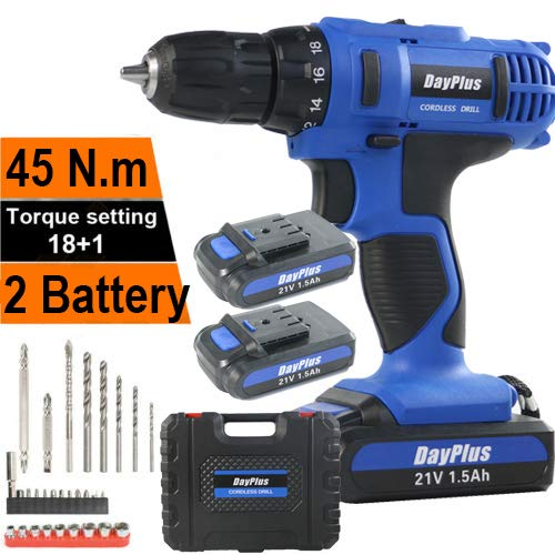 Heavy Duty Cordless Combi Drill Driver Electric Screwdriver Complete 21V Variable Speed 2 Li-ion Rechargeable Battery Bits 45 N.m Fast Charger LED Work Light