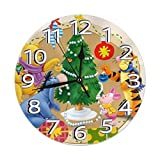 YANPING Wall Clock Silent Non Ticking - Winnie The Pooh & Friends Christmas Battery Operated Round Easy to Read Home/Office/Classroom/School Clock