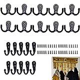 Colgador,20 Piezas Ganchos Percheros de Pared,Gancho Rústico Retro Perchero con Ganchos de Ropa Sombrero de Gancho Colgador de Llaves Gancho Toallero Puerta con Tornillos