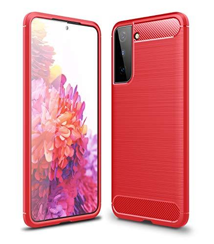 Cruzerlite Samsung Galaxy S21 hülle, Carbon Fiber Texture Design Cover Anti-Scratch Shock Absorption Case Schutzhülle für Samsung Galaxy S21 (Red)