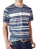 (アローナ)ARONA DRYストレッチ 吸汗速乾 Tシャツ メンズ 総柄 /M1/ ランダムボーダー LL