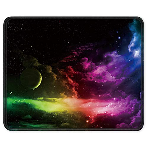 ITNRSIIET Gaming Mouse Pad with Stitched Edges, Premium-Textured Mouse Mat Pad, Non-Slip Rubber Base Mousepad for Laptop, Computer & PC, 10.2×8.3×0.12 inches, Cosmic Sky