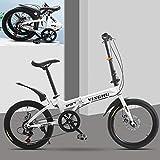 Bike Folding Bicicleta Plegable Cuadro Aluminio Ruedas 26' Bikes Bicicleta Plegable Street, 7 Velocidades, Adultos Unisex,Blanco